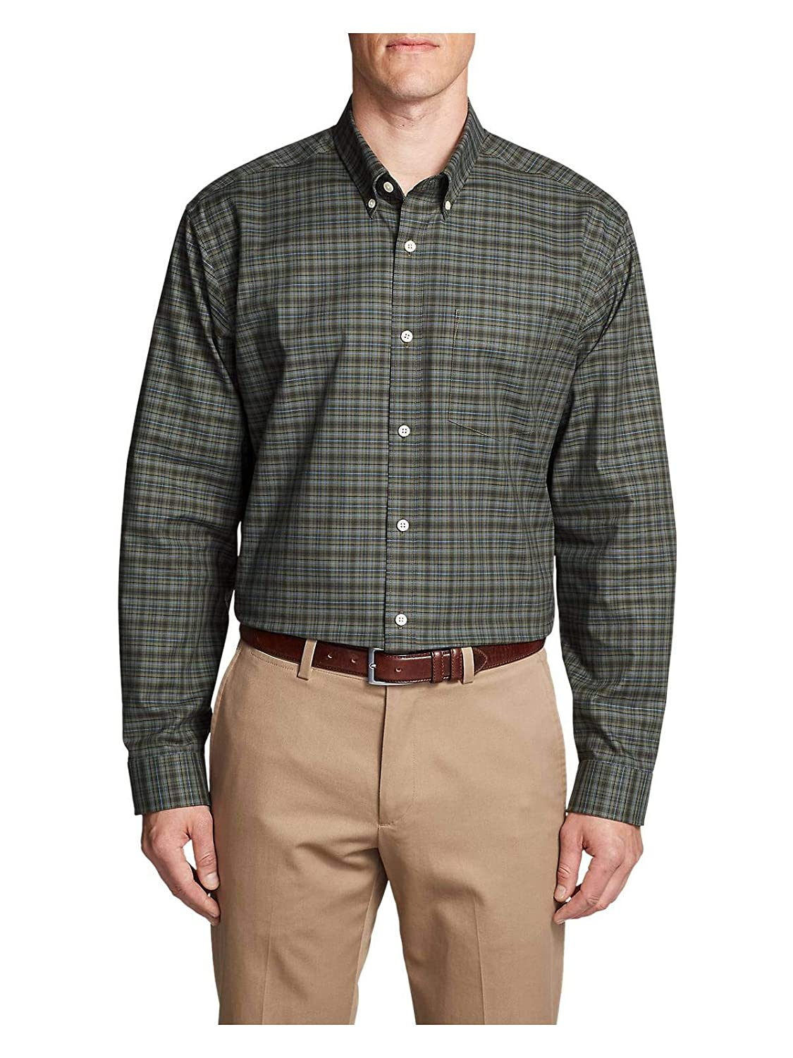 Eddie Bauer Men's Wrinkle-Free Relaxed Fit Oxford Cloth Shirt - Pattern 45074