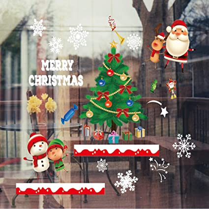 White Snowflakes Window Clings With Large Christmas Tree Santa Claus Snowman Reindeer Xmas Holiday Colored Window Decals Reusable Static Sticker