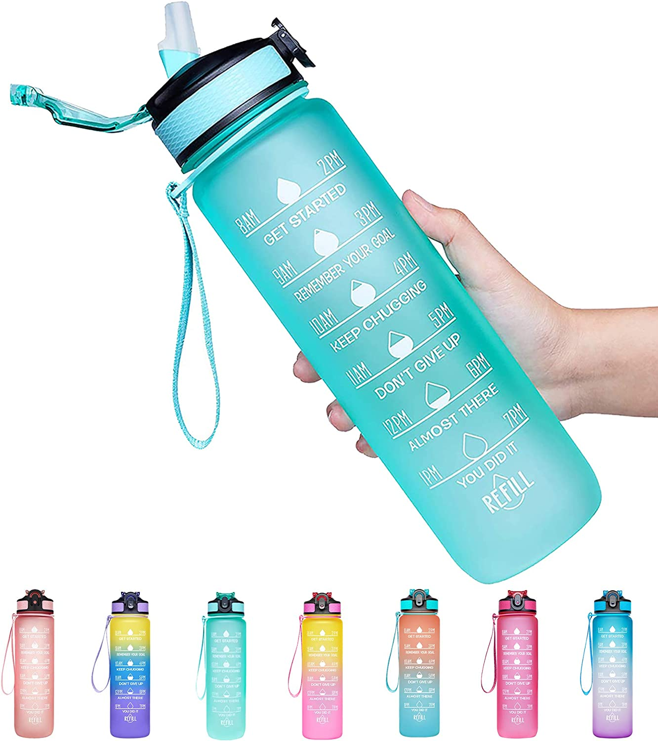 Giotto 32oz Leakproof BPA Free Drinking Water Bottle with Time Marker & Straw to Ensure You Drink Enough Water Throughout The Day for Fitness and Outdoor Enthusiasts