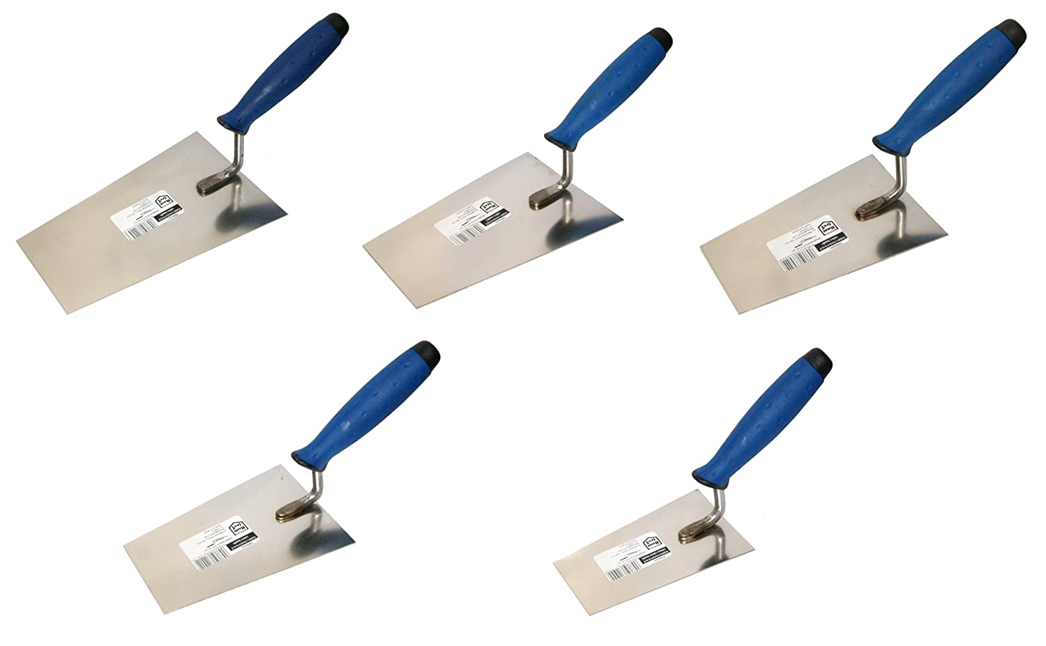 5 x Bucket Trowel. Rubber Handle. Stainless Steel (SET) Proper Tools bucket trowel SET of 5