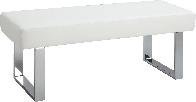 MILAN Lillian Faux Leather Long Bench, White
