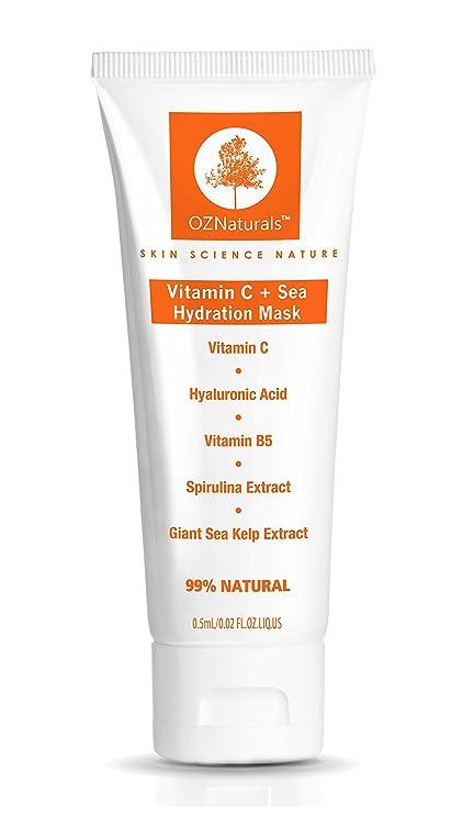 oznaturals vitamina C Facial Máscara – Máscara de hidratación para piel seca con ácido hialurónico,