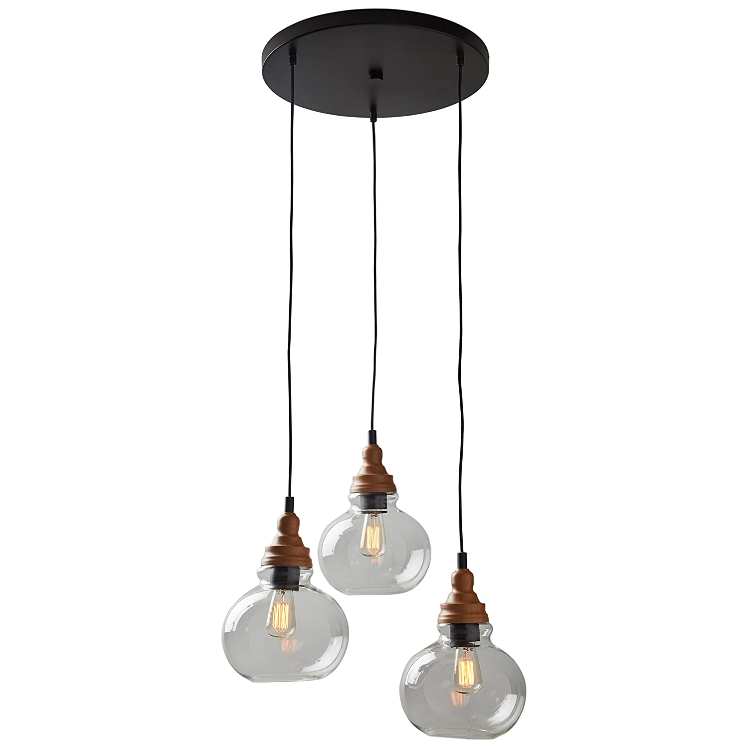 Rivet Glass 3 Light Pendant With Bulb, 1425 60H, Brown And Black