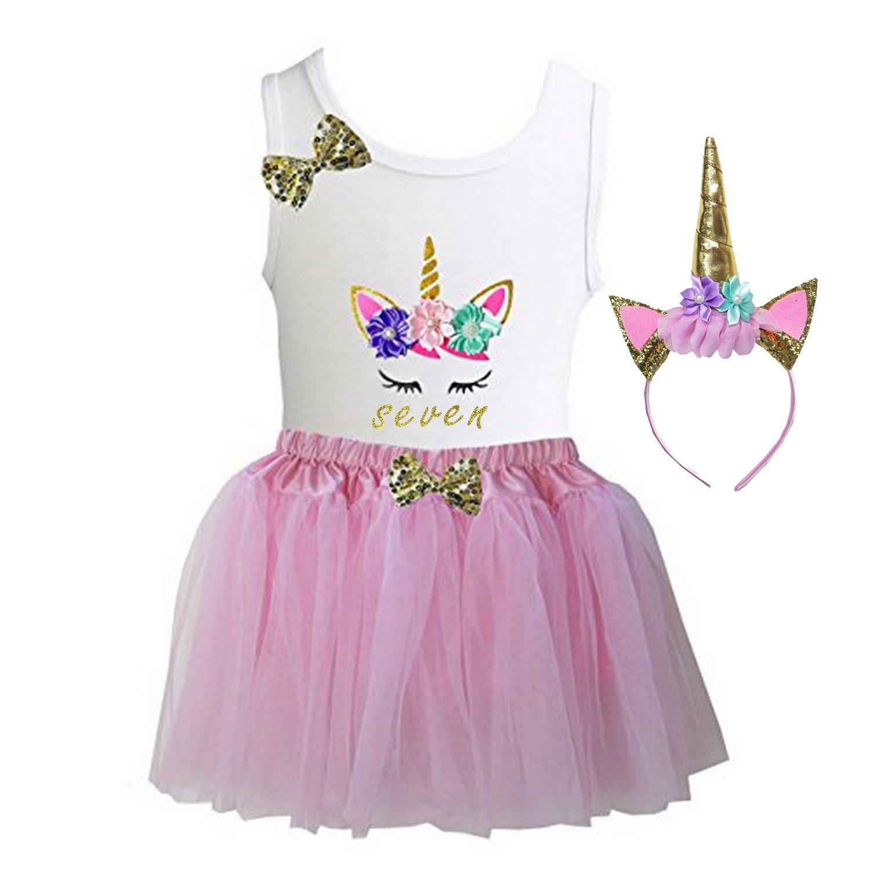 Kirei Sui Girls Light Pink Tulle Tutu Birthday Unicorn L Seven
