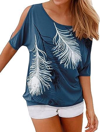 Mujer Camiseta Pluma Hombro Caido Manga Corta Sin Tirantes Cuello Barco T-Shirt Off Shoulder: Amazon.es: Ropa y accesorios