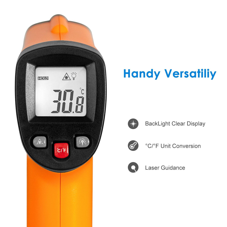Pistola de Temperatura Helect Term/ómetro Infrarrojo Digital L/áser Sin Contacto 50℃ a 550℃
