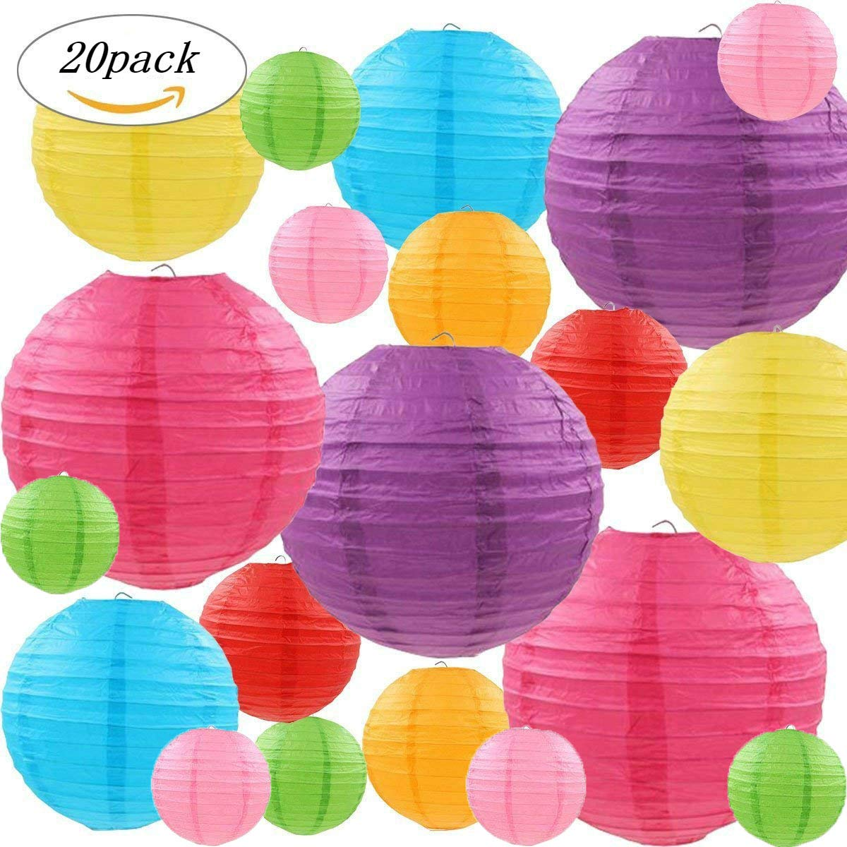 20 PCS Paper Lanterns with Assorted Colors and Sizes, Paper Hanging ...