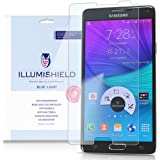 iLLumiShield - Samsung Galaxy Note 4 Screen Protector with HD Blue Light UV Filter and Lifetime Replacement Warranty / Premium High Definition Clear Film / Reduces Eye Fatigue and Eye Strain - Anti- Fingerprint / Anti-Bubble / Anti-Bacterial Shield - [2-Pack] Retail Packaging (Flat OLED)