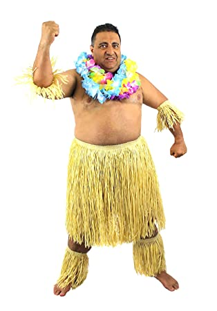 d6cc9f5c56 MENS ZULU SET HAWAIIAN FANCY DRESS COSTUME ACCESSORY OUTFIT NATURAL GRASS  SKIRT + ARM & LEG