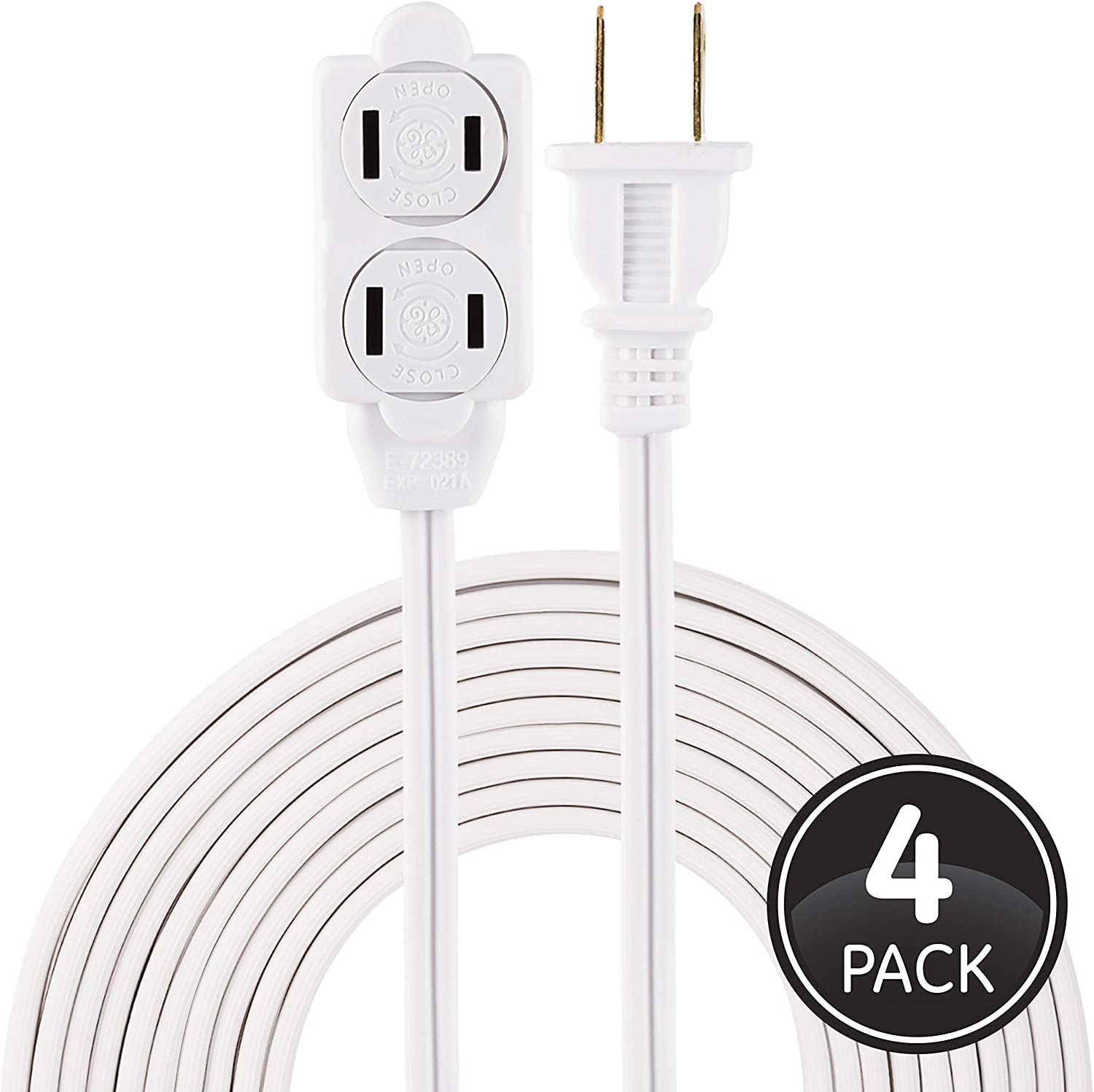 GE, White, 15 ft Extension Cord 4 Pack, 3 Outlet Power Strip, Polarized, 16 Gauge, Twist-to-Close Safety Covers, Indoor Rated, Perfect for Home, Office or Kitchen, UL Listed, 50366