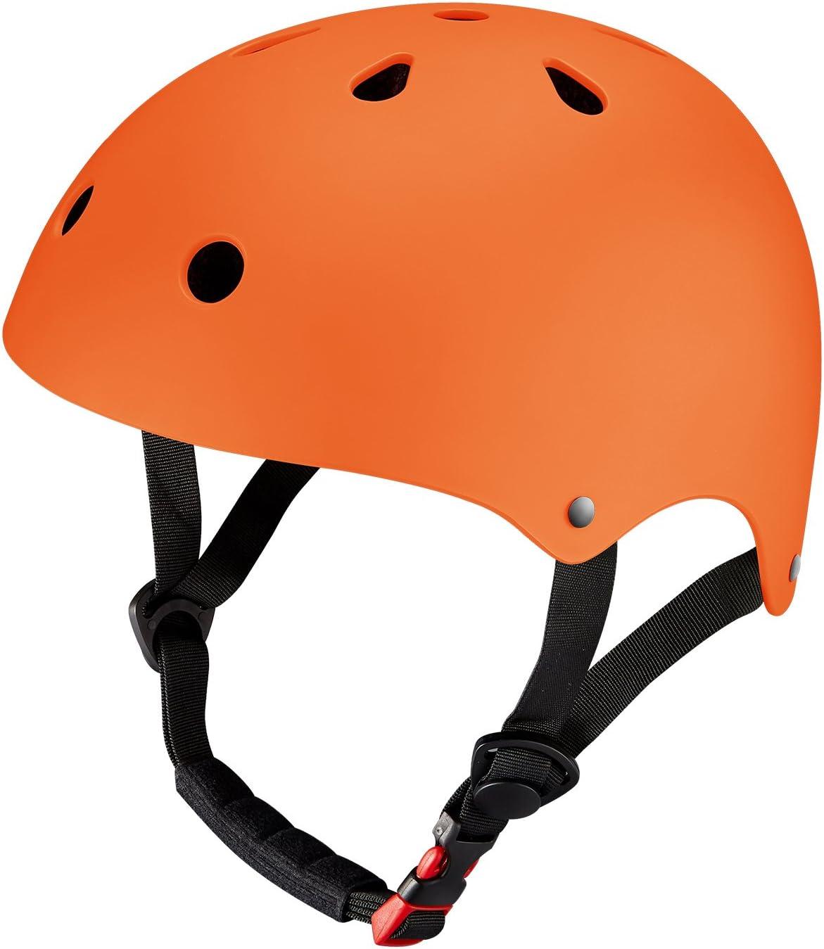 Kuyouスケートボードヘルメット、サイクリング究極の調節可能なABSシェル/スケートボード/スクーター/スケートインラインスケート/ Rollerblading保護ギア4サイズ(XS S M L)適しKid / youth / adult。 オレンジ S