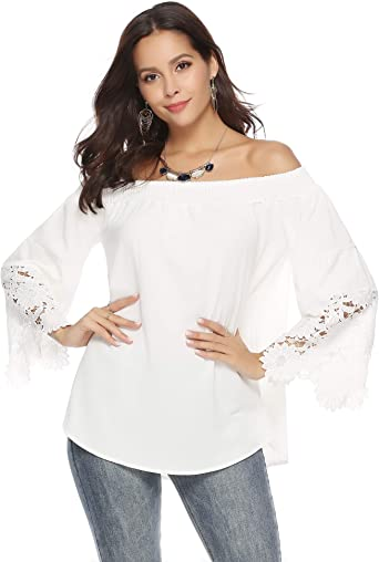 Abollria Camiseta Casual para Mujer con Hombros Descubiertos Camisa con Escote Bardot T-Shirt Larga sin Hombros para Primavera Verano: Amazon.es: Ropa y accesorios