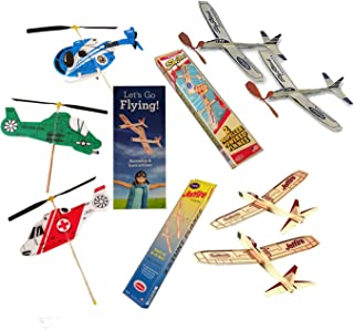 product image for Balsa Wood Airplanes by Guillow's Jetfire and Sky Streak Rubber Band Powered Airplanes Bundle with Kids Windup Flying Copter Toys