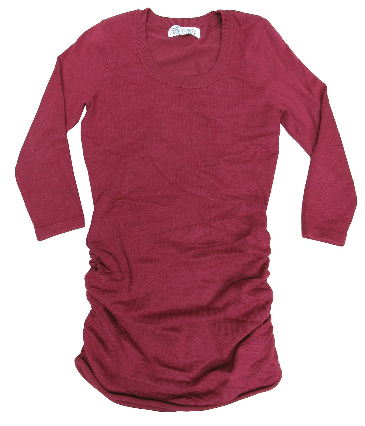 Pink Rose Juniors Red /-Sleeve Ruched-Side Fine-Gauge Pullover X-Large