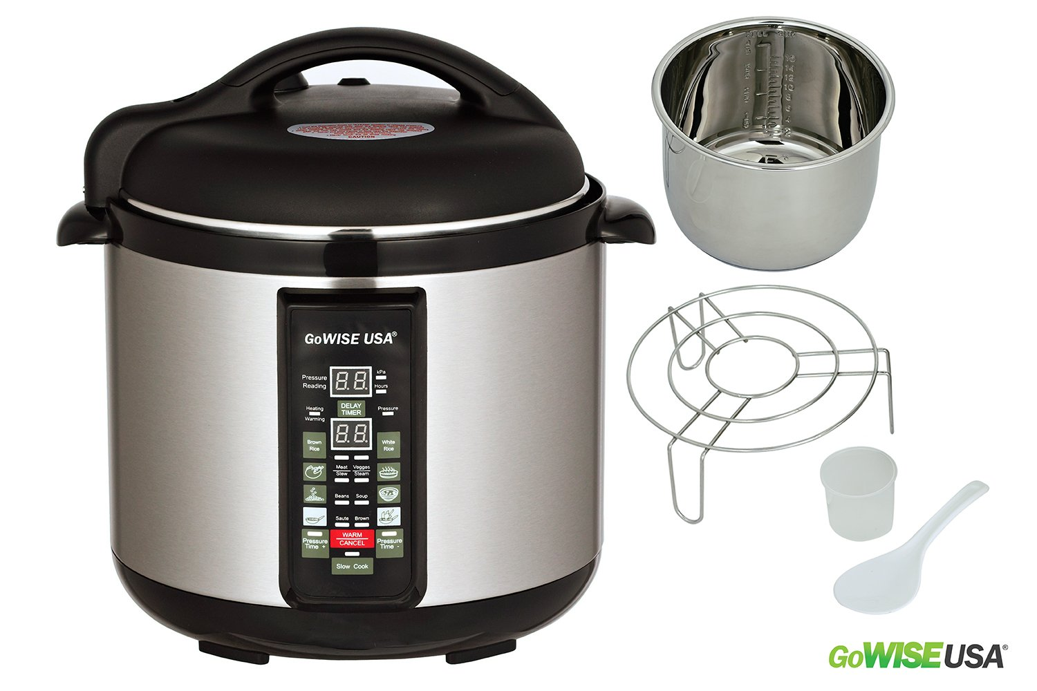 Stainless-steel Cooking Pot/ 6-in-1 Electric Pressure Cooker/Slow Cooker w/new durable regulator knob (8 QT) - 1300W