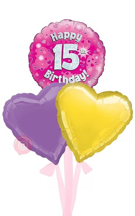 Num 15 Happy 15th Birthday Pink Holographic
