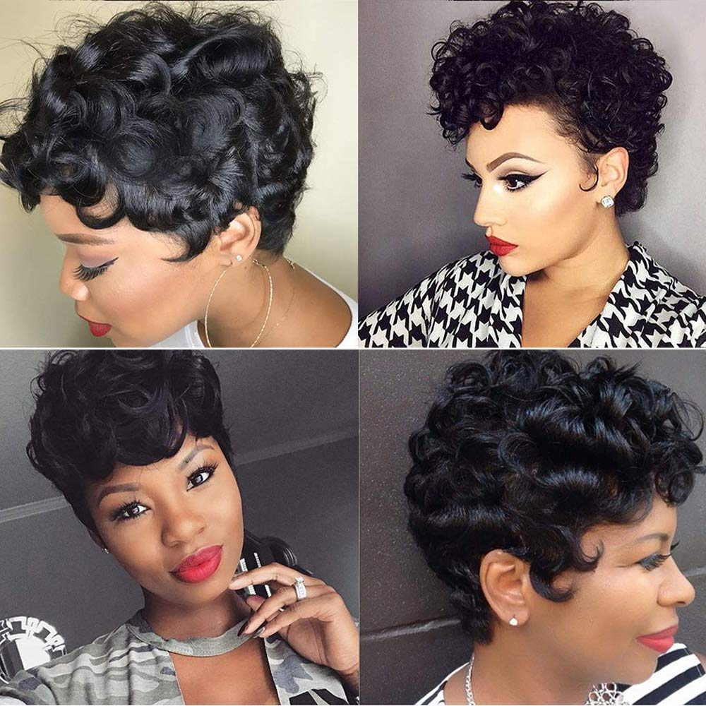 Short Pixie Cut Wigs for Black Women 12% Short Human Hair Wigs with Bang  Short Black Wigs Brazilian Hair Short Wigs Water Curly Wave Wigs Short  Curly
