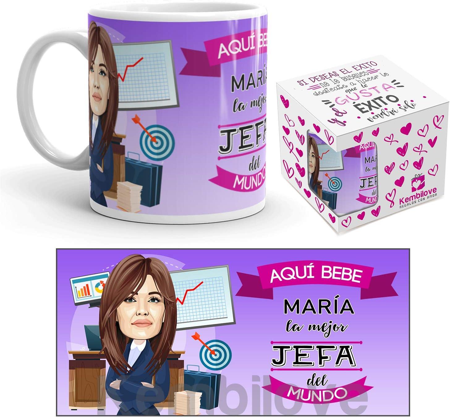 Kembilove Taza Personalizada Caricatura y Nombre – Taza de Café de la Mejor Jefa del Mundo – Taza de Desayuno para la Oficina – Taza para Profesionales – Tazas para Jefas