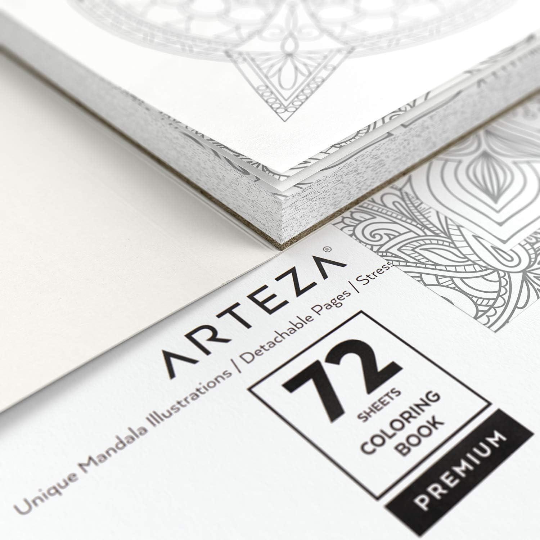 Ausmalbuch mit 72 Mandalas f/ür Erwachsene abnehmbare Seiten 150g//m/² 16.25 x16.25 cm ARTEZA Mandala Malbuch f/ür Erwachsene Anti Stress und Entspannung