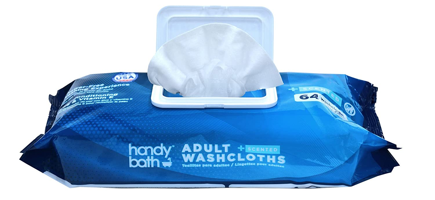 Amazon.com: Handybath Adult Washcloths with Fresh Scent for Senior Care Outdoor Activities - Extra Large 12 x 9