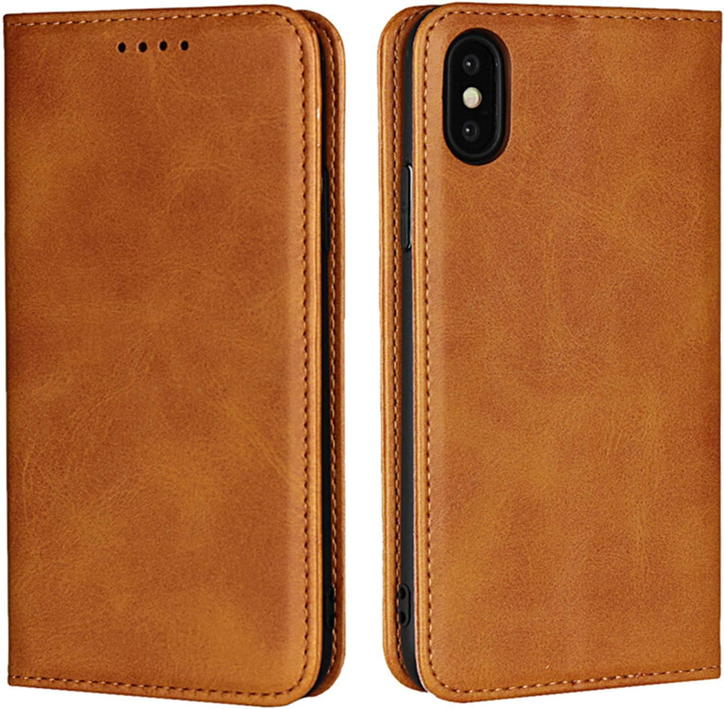 Zouzt Premium Pu Leather Wallet case Compatible iPhone X,Folio Flip Case with Magnetic Closure/Kickstand Feature/Card Slots(Light Brown)