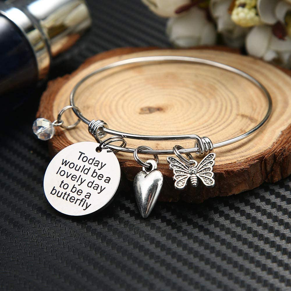 Expandable Wire Bangle Bracelet Charm Bracelets Expandable Bracelets with Animal Charms Elephant Butterfly Cat Bear Bee Bracelet Gifts for Women Kids IEFSHINY Charm Bracelet for Women Girls