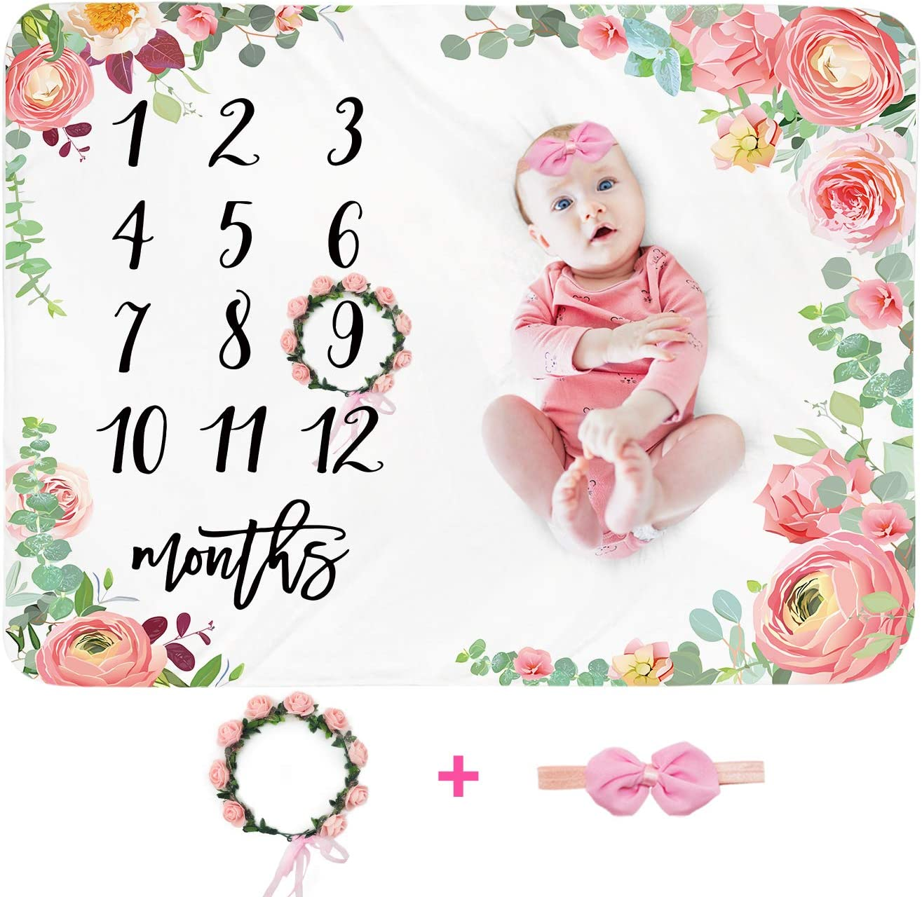 Baby Monthly Milestone Blanket Girl - Floral Newborn Month Blanket Personalized Shower Gift Soft Plush Fleece Photography Background Photo Prop Large Flower Blanket with Wreath Headband