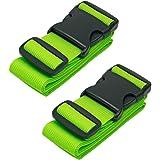 CSTOM Cinghia per Valigie Bagaglio Cinture 5x200cm, 2-Pack, Verde