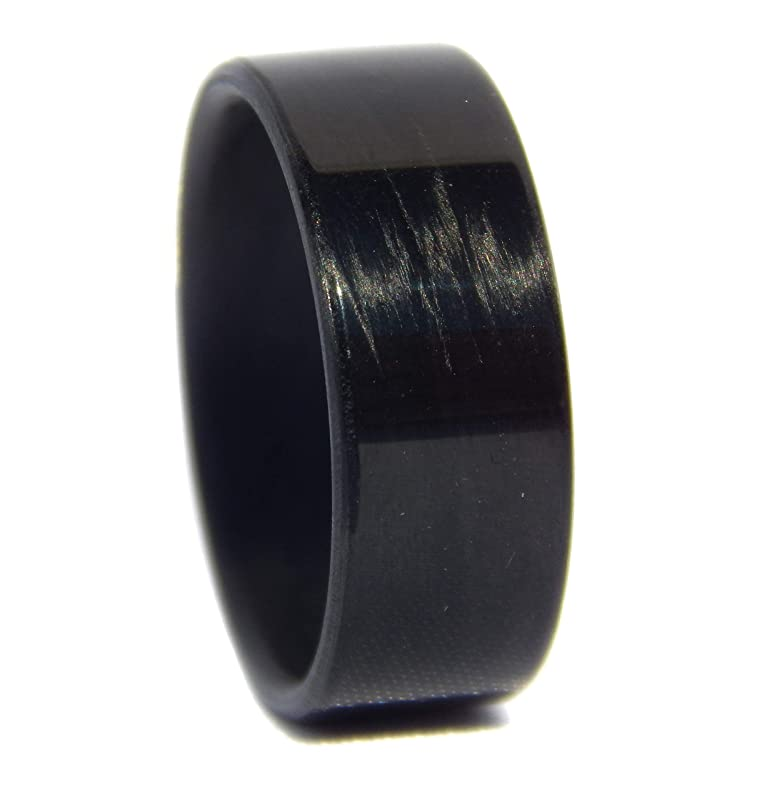 Details about  /Black Carbon Fiber unidirectional rings modern sleek handmade in USA bands matte
