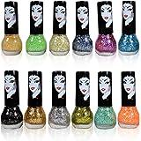 Adbeni Funky Glitters Sparkle Zari Nail Polish Pack of 12 Multi Color