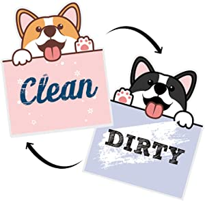 "Nidoul Clean Dirty Dishwasher Magnet Sign, 3.3"" X 2.8"" Waterproof Double Sided Strongest Magnets Flip Indicator, Cute Dog Dishwasher Accessories Kitchen Label for Home Organization"