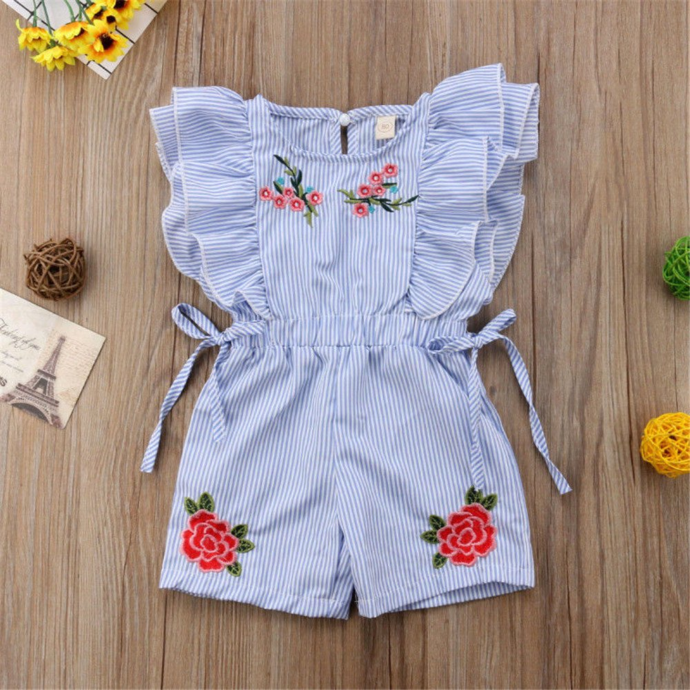 NICECLOULD Newborn Kids Baby Girl Flower Stripe Ruffle Sleeveless Romper Embroidery Jumpsuit Outfits Clothes Summer