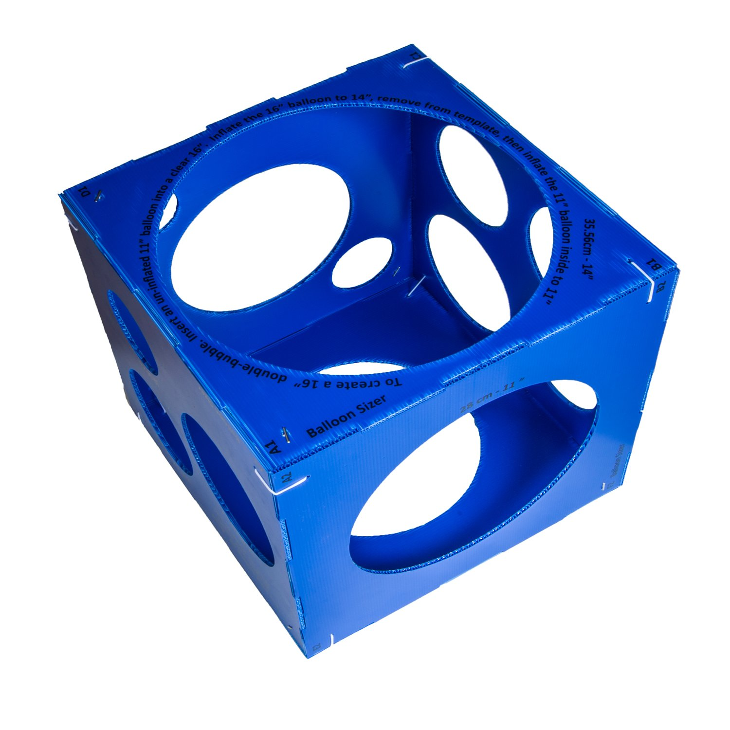 Jioong 13 Holes Blue Collapsible Plastic Cube Balloon Sizer Box From 3'' - 14''