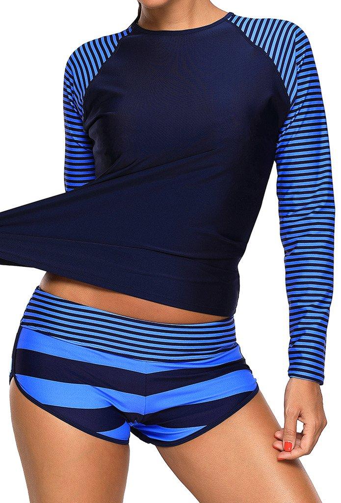 Aleumdr Womens Navy Stripes Long Sleeve Rashguard Padded Tankini Top Set Swimsuits With Swim Bottoms Medium Size Blue