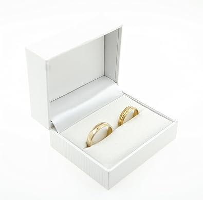 Estuche con 2 anillos de boda de alta calidad; para el compromiso o para San Valentín, color blanco, modelo Box 4: Amazon.es: Joyería