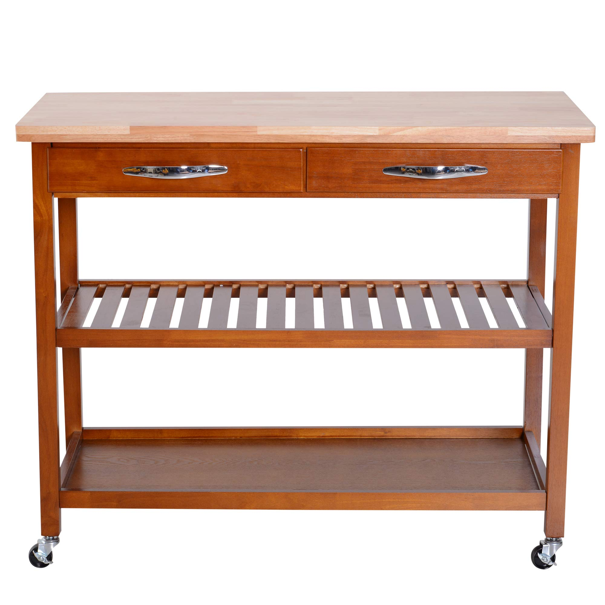 HOMCOM 44'' 3-Tier Rubberwood Kitchen Island Cart on Wheels - Brown by HOMCOM (Image #3)