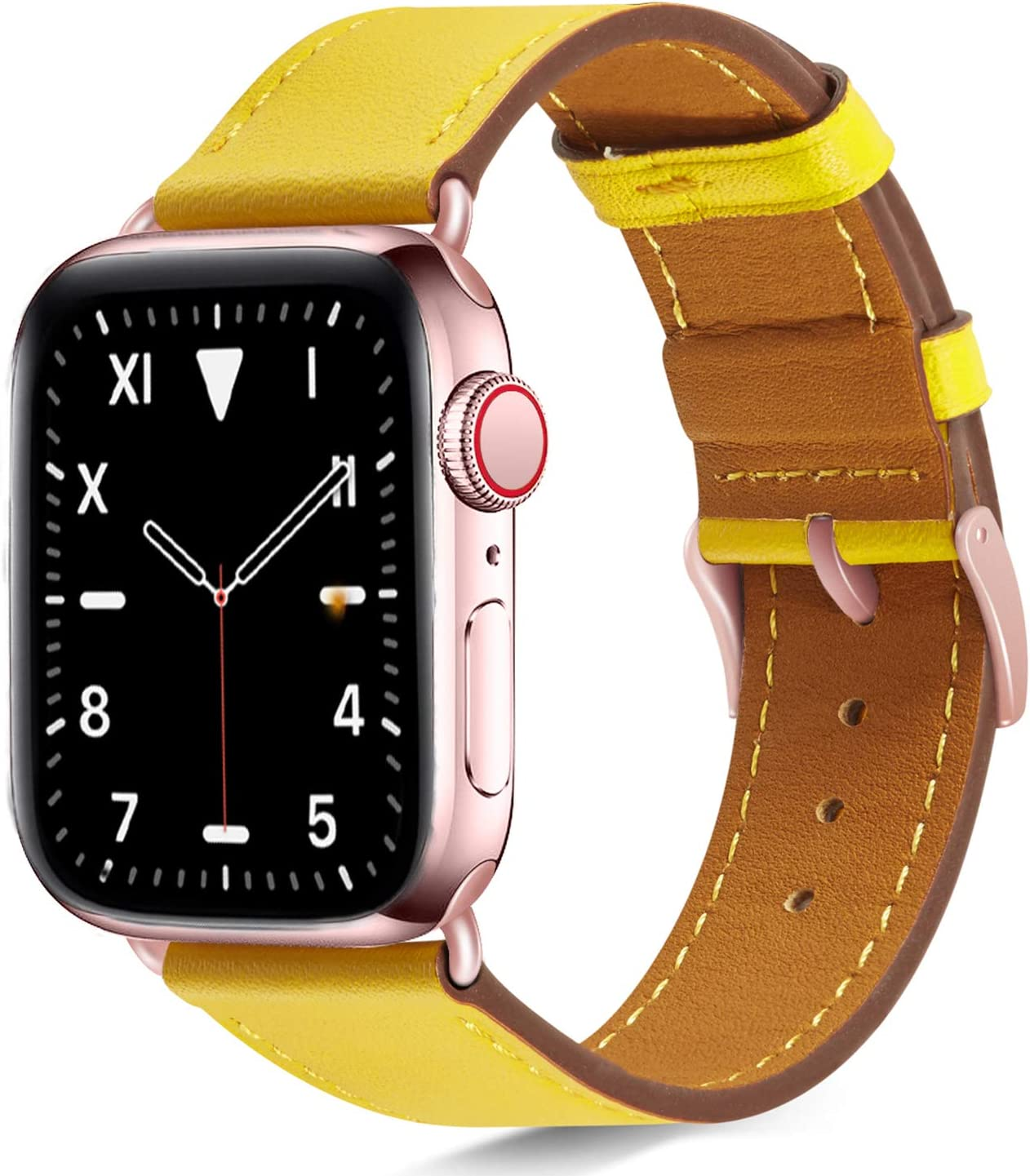 Compatible with apple watch band 38mm 40mm for iWatch Bands Series 6 5 4 3 2 1 SE Women , Pierre Case Durable Genuine Leather Replacement Strap, Adjustable Stainless Metal Clasp,Yellow