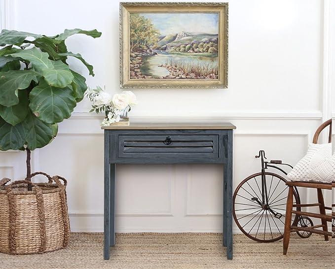 Scrivania Vintage Bianca : Rebecca mobili consolle tavolo scrivania cassetto legno blu