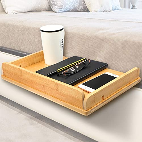 Bedside Tray Shelf,Bamboo Wooden College Dorm Room Bedside Tray with Phone Cable Slot,Bunk Bed Shelf for Top Bunk,Teens Nightstand for Bedroom