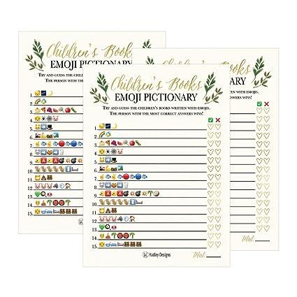 Amazon Com 25 Floral Emoji Children S Books Pictionary Baby Shower