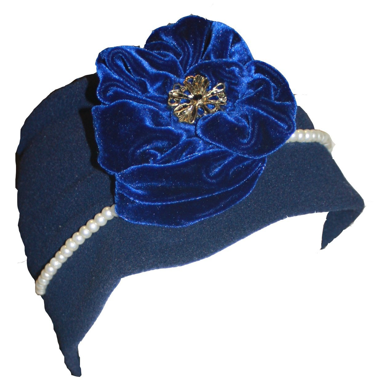 JL Couture Girls Blue Flower Pearl Fleece Winter Hat