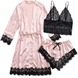 SOLY HUX Women's Sleepwear 4pcs Floral Lace Trim Satin Cami Pajama Set with Robe