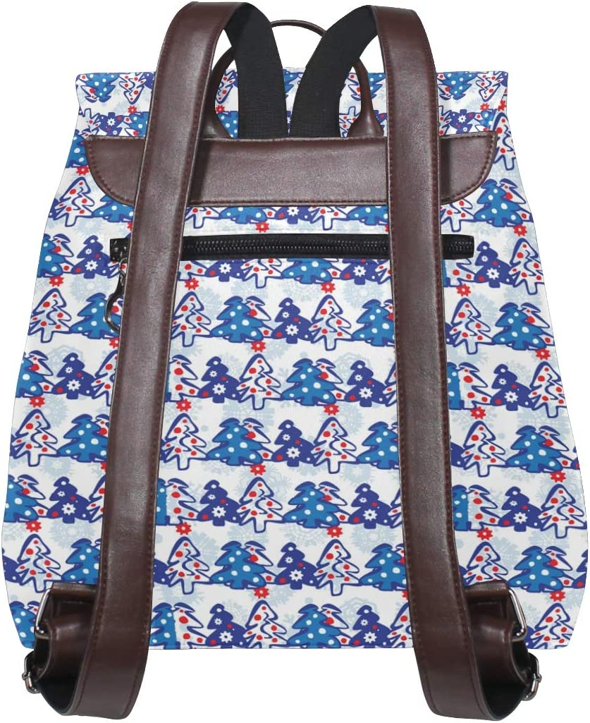 Leather Christmas Trees Blue Backpack Daypack Bag Women