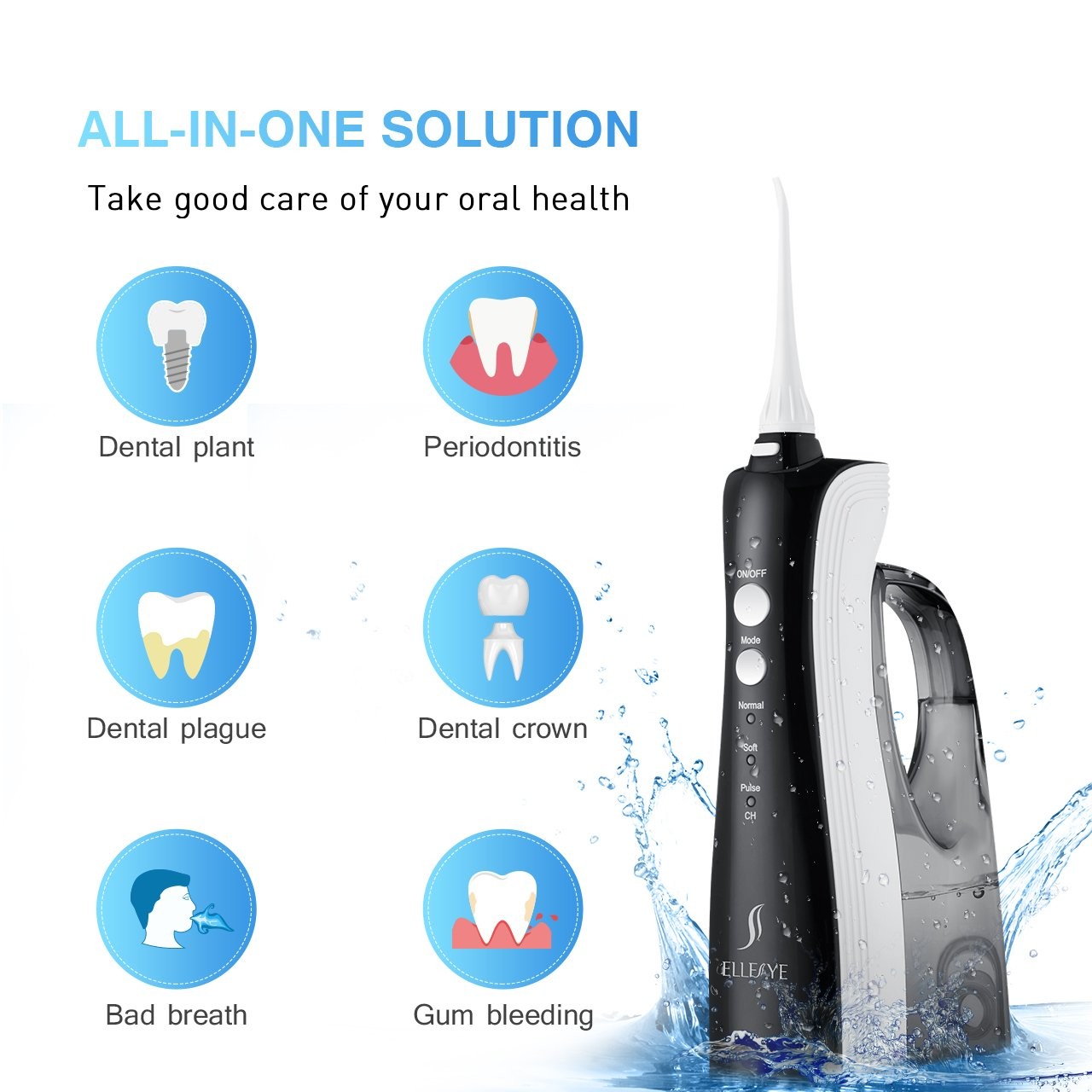 [UPGRADED] 330ML Cordless Water Flosser Teeth Cleaner, ELLESYE High Pulse Rechargeable Portable Oral Irrigator for Travel & Office Use, IPX7 Waterproof Dental Flosser for Shower with 2 Tips for Family by ELLESYE (Image #8)