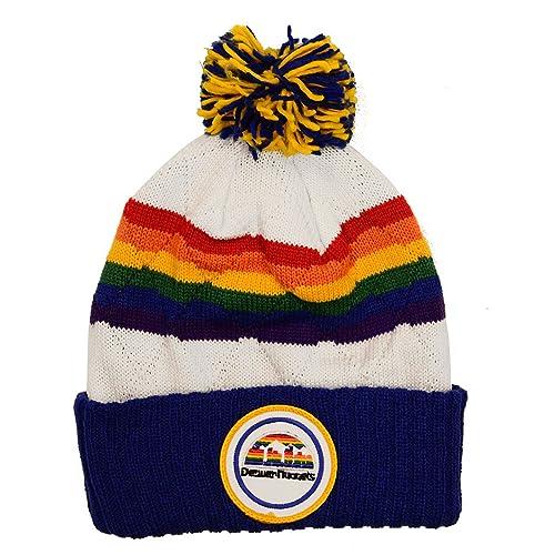 daa1819dc5b ... italy nba mitchell ness vintage jersey stripe hi five knit hat with pom  45837 03baf