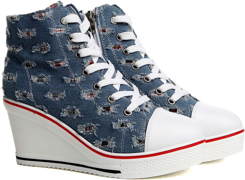 huayun Women Canvas Shoes Vulcanize Shoes Wedge Sneakers Casual Platform Sneaker