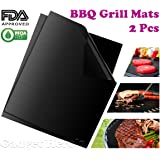 Gadget Hero's Non-stick Barbeque Grill Mat. Set of 2 Barbecue Mats For BBQ Grill & Baking. FDA-Approved.