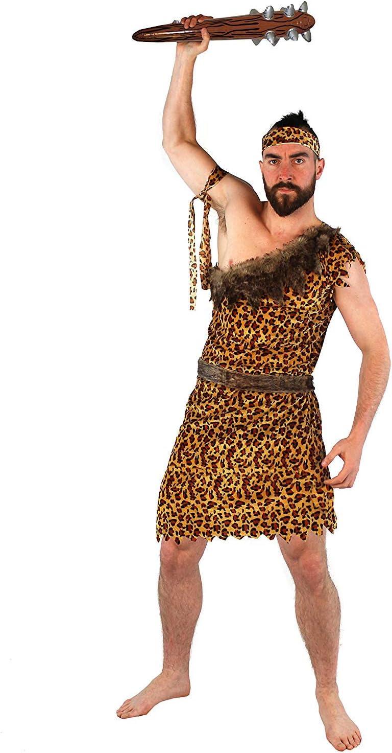 Disfraz DE CAVERNÍCOLA para Hombres - TÚNICA Estampado DE Leopardo + CINTILLO Y BRAZAL A Juego + CINTURÓN DE Pelaje SINTÉTICA Fiestas DE Disfraces - Talla: XX-Grande