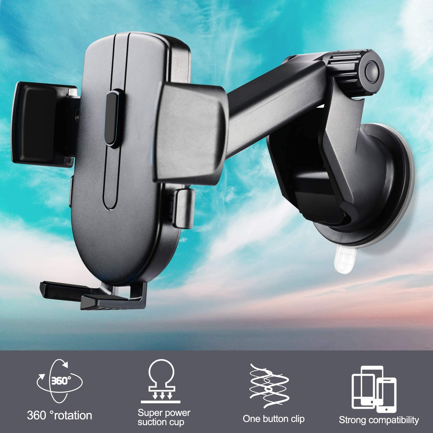SJY Car Phone Holder, Samsung S10+//S10//S9//S8//LG//Google and etc - Classic Black Hands-Free Suction Cup Phone Car Mount Compatible with iPhone XR//Xs//Max//Xs//X//8//7//6 Plus 2020 Newest Version