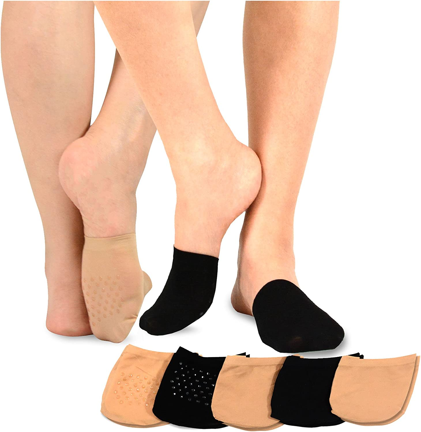 TeeHee Womens Seamless Toe Topper Liner Socks 5-Pack with Non-Skid Bottom (Pale Beige-Black) at  Women's Clothing store